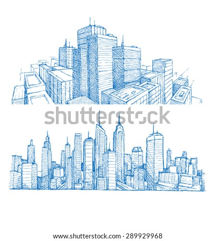 hand drawn cityscapes and