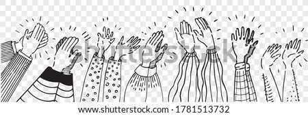 Hand drawn clapping human hands doodle set. Collection pencil chalk drawing sketches men women raising arms making applause isolated on transparent background. Greeting celebration or ovation.