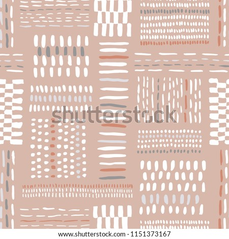 Hand drawn clay tones tribal marks, stitches on beige background vector seamless pattern. Abstract geometric drawing