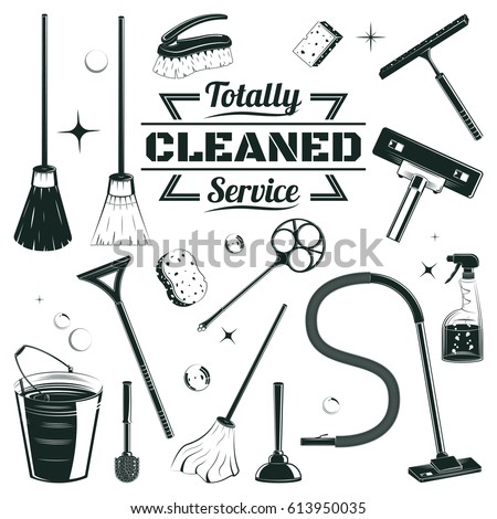 hand drawn cleaning elements...