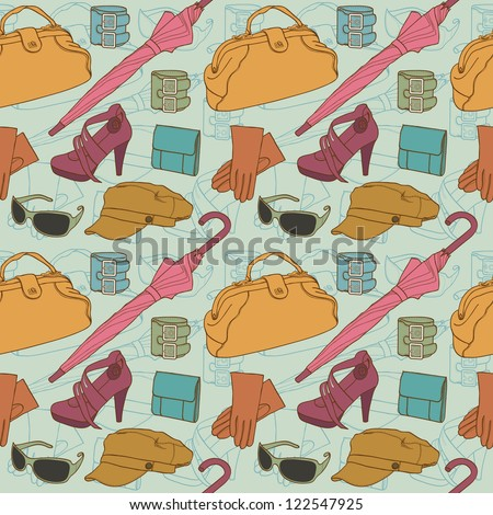 Hand drawn clothes pattern in retro style