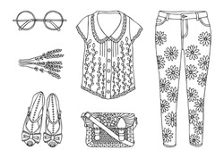 Hand drawn clothes set. Fashion tips. Sketch for anti-stress adult coloring book in zen-tangle style. Vector illustration  for coloring page.