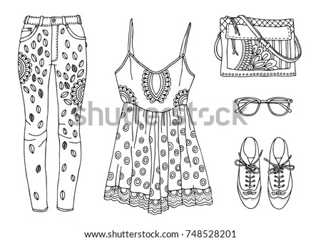 Fashion Tips Sketch For Anti Stress Adult Coloring Book
