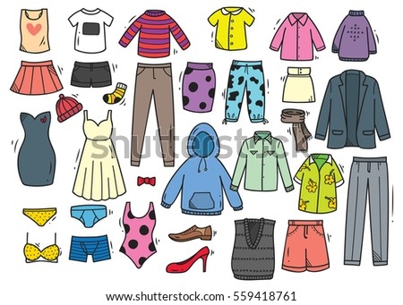 Shutterstock Hand drawn clothing doodle set isolated on white background