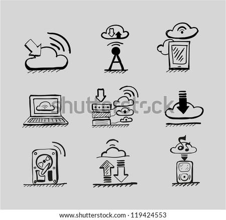 Hand drawn cloud concepts vector black icon set