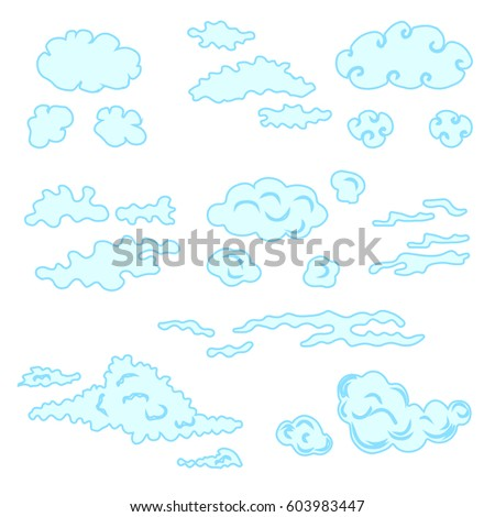 hand drawn clouds set stock