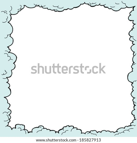 hand drawn cloudy border with...