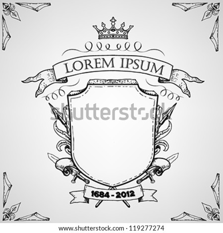 Hand drawn Coat of arms style label