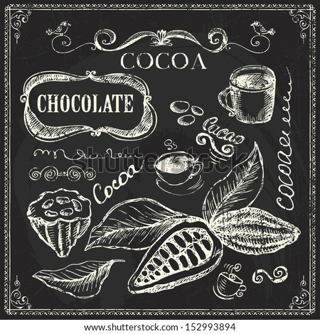 Hand drawn cocoa and chocolate doodles  on chalk board