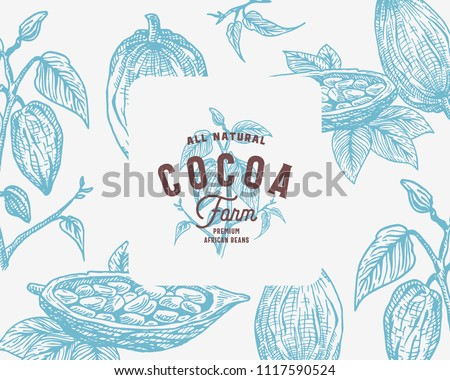 Hand Drawn Cocoa Beans Branch Vector Background. Abstract Cacao Sketch Card or Cover Template with Classy Retro Typography. Isolated.
