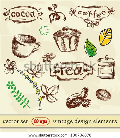 Hand Drawn. Coffee and tea. vintage design elements.