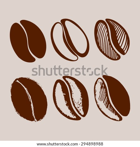 hand drawn coffee beans