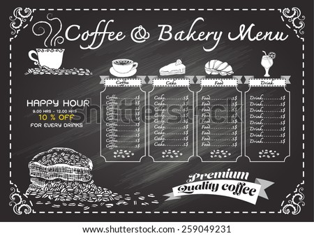 Hand drawn coffee menu on chalkboard.