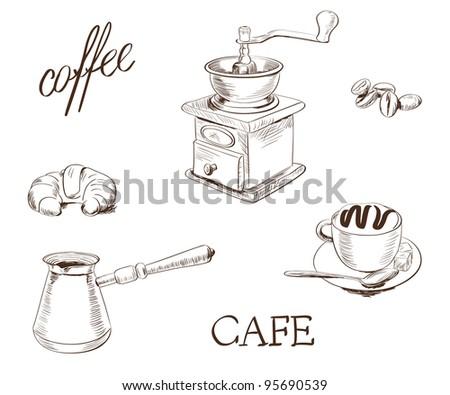 hand drawn coffee set. vector illustration.