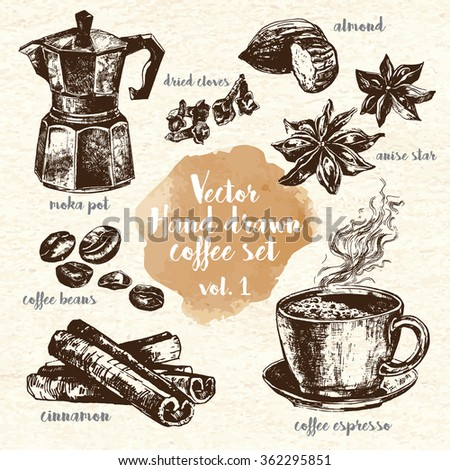 hand drawn coffee set vol1