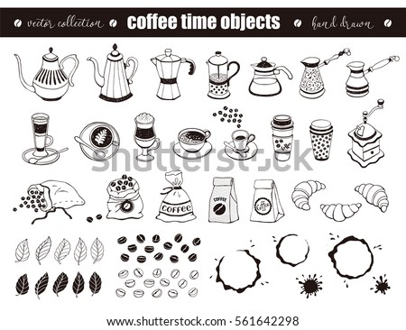 hand drawn coffee time objects...