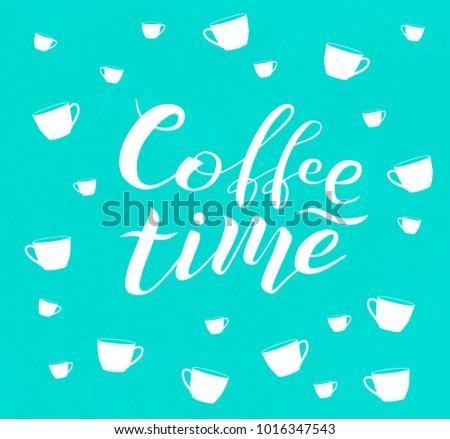 hand drawn coffee time white