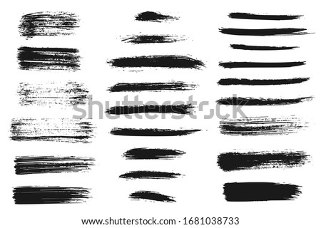 Hand drawn collection of abstract ink lines and brush strokes. Grunge set of graphic illustrations for banner template. Vector elements isolated on white background.