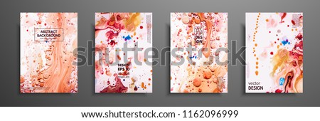Hand drawn collection of card made by acrylic homemade texture. Liquid colorful texture. Fluid art. Abstract painting templates. Design for banner, poster, cover, invitation, placard, brochure, flyer.
