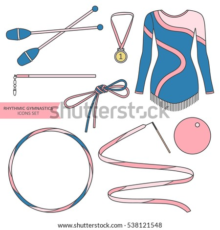 Hand drawn collection of sports equipment. Set of colorful objects. illustration with sport icons vector. Decorative elements of rhythmic gymnastics