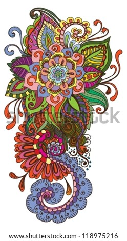 hand drawn color floral background, illustration, vector