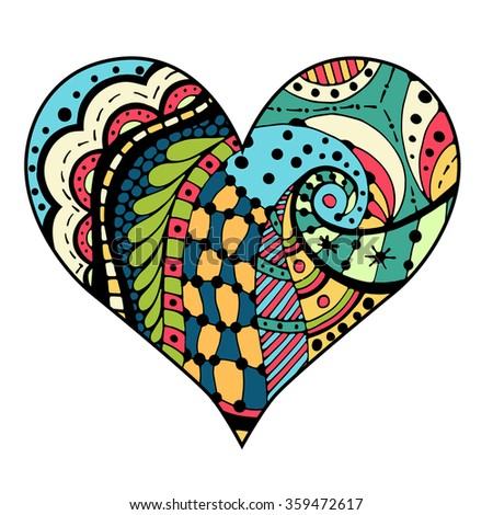 hand drawn colored hearts in