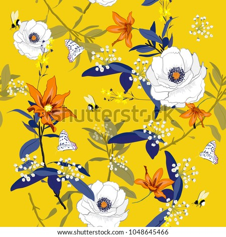 Hand drawn colorful blooming flowers botanical floral and  leaves  background vector seamless pattern on summer fresh yellow background.