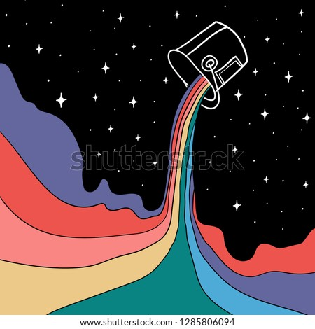 Hand Drawn colorful can of paint with  rainbow inside in space. Doodle art. Repainting space and another reality. Illustrations Drawing a Sketch for textile, print, postcard, poster, apparel, t-shirt