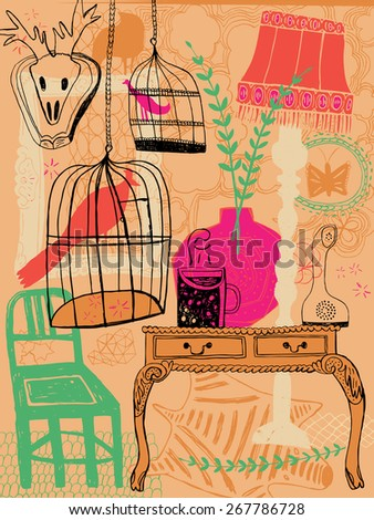 Hand drawn colorful cool interior with various animals, birds and insects