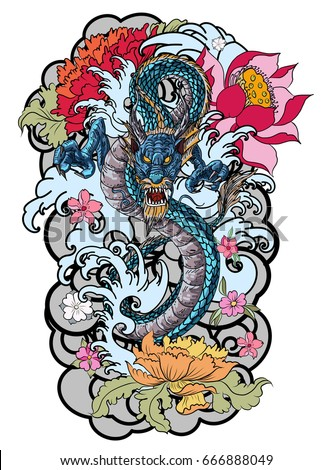 hand drawn colorful dragon