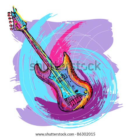 hand drawn colorful illustration of electric guitar, created as very artistic painterly style, for your design, easy to edit - stock vector