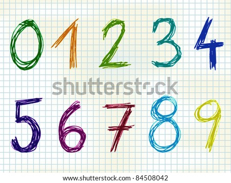 Hand Drawn colorful numbers - sketch