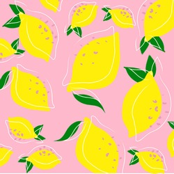 Hand drawn colorful pattern of lemon and leaves on pink background. Flat lines design style. Perfect for textile manufacturing wallpaper posters etc. Vector fruits illustration