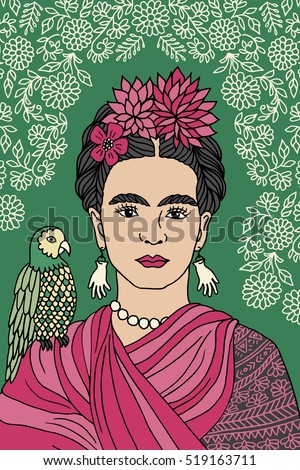 Hand drawn colorful portrait of Frida Kahlo, with floral background, pink flowers in her hair and a parrot on her shoulder