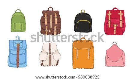 hand drawn colorful realistic backpack set. different trendy rucksac collection.