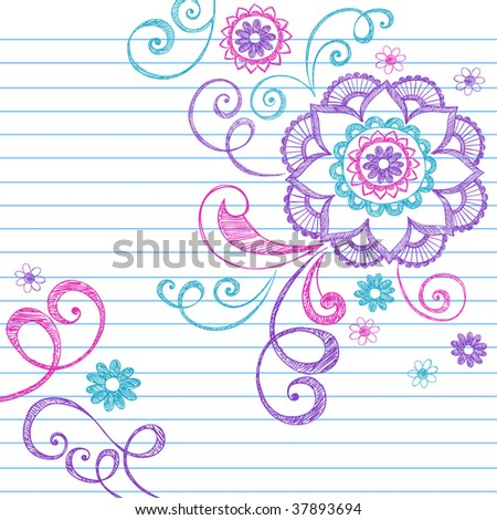 Hand-Drawn Colorful Sketchy Notebook Doodle Flowers on Lined Paper Vector Illustration