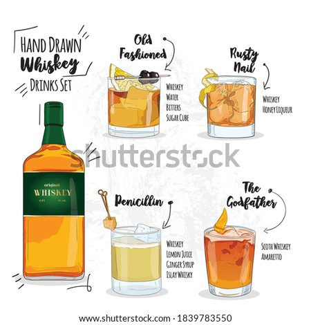 Hand Drawn Colorful Summer Whiskey Cocktails Set. Old fashioned, Rusty nail, Penicillin and The godfather Drinks.