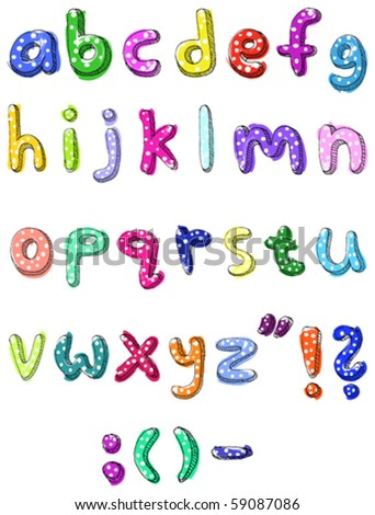 Hand drawn colorful vector abc small letters