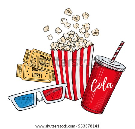 Hand drawn colorful vector illustrations - Cinema collection. Movie and film elements in sketch style. Perfect for invitations, cards, posters, banners, flyers etc