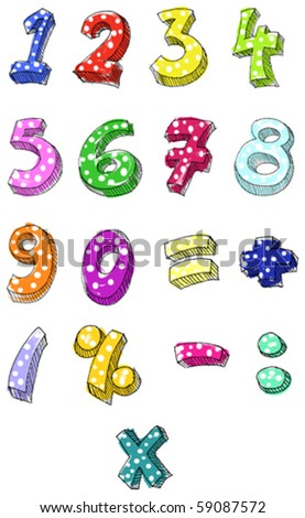 Hand drawn colorful vector numbers