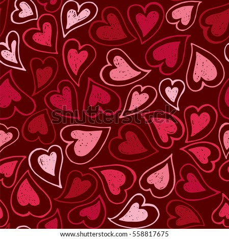 Hand drawn colorful vector seamless background pattern with hearts. Bright red backdrop for wrapping paper, greeting cards, posters, invitation, wedding and Valentines cards.