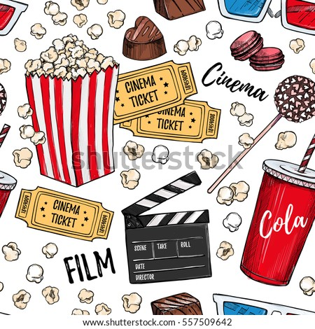 Hand drawn colorful vector seamless pattern - Cinema collection. Movie and film elements in sketch style. Perfect for invitations, cards, posters, banners, flyers