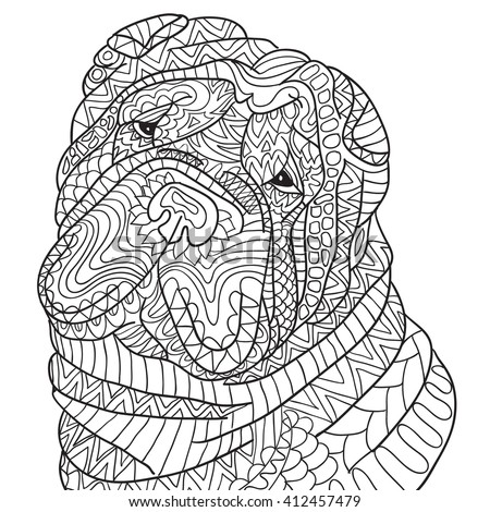 Hand Drawn Coloring Pages With Dog Shar Pei Zentangle Illustration For Adult Anti Stress