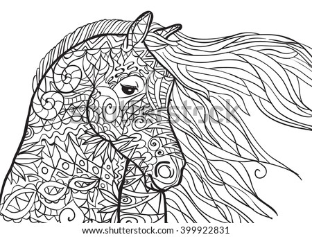 Hand Drawn Coloring Pages With Horses Head Illustration For Adult Anti Stress Books