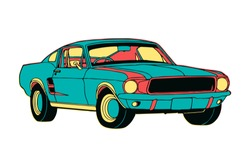 Hand Drawn colourful isolated muscle car in cartoon style with creative design colours. Vector illustration EPS10
