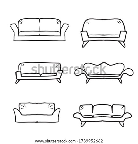 hand drawn Comfortable sofas. Luxury couch for apartment, comfort sofa models and modern house sofas. Domestic couch furniture, cozy luxury fashion sofas.doodle cartoon line