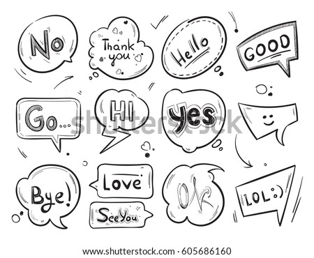 Hand drawn comic speech bubbles with popular message words vector collection. Label for dialog chat illustration