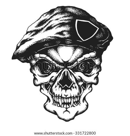 hand drawn commando skull in