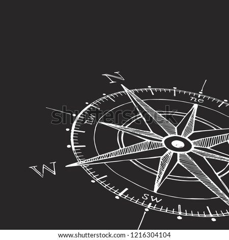 hand drawn compass rose vector