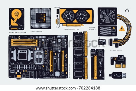 hand drawn, computer accessories parts for cryptomining farm, vector illustration components. isolated on white background.